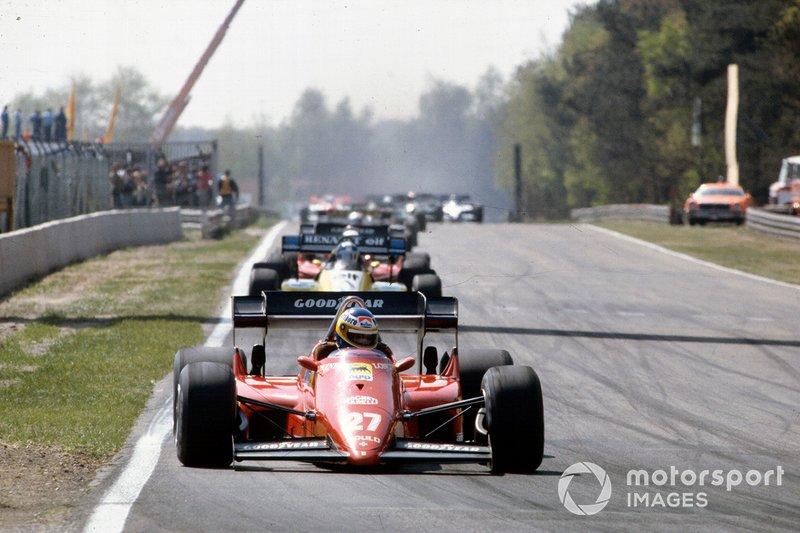 Michele Alboreto, Ferrari, Derek Warwick, Renault, René Arnoux, Ferrari, Manfred Winkelhock, ATS