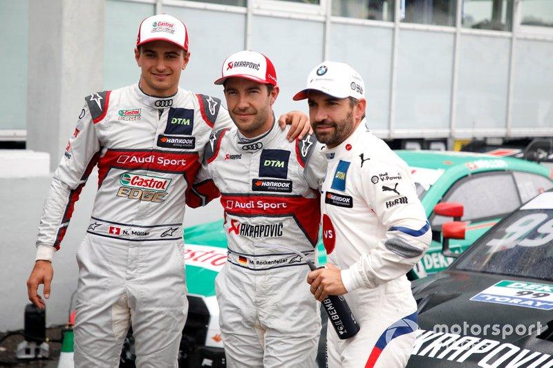 Top 3 after Pole sitter Mike Rockenfeller, Audi Sport Team Phoenix, Nico Müller, Audi Sport Team Abt Sportsline, #Timo Glock, BMW Team RMG