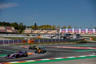 Lance Stroll, Racing Point RP19, leads Lando Norris, McLaren MCL34, and Daniel Ricciardo, Renault R.S.19