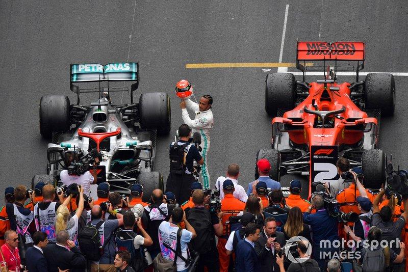 Lewis Hamilton, Mercedes AMG F1, 1st position, celebrates on arrival in Parc Ferme