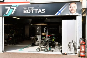 The car of Valtteri Bottas, Mercedes AMG W10, in the garage