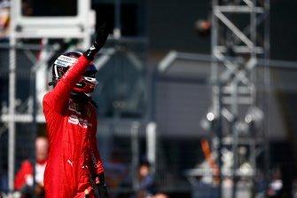 Charles Leclerc, Ferrari, celebrates pole