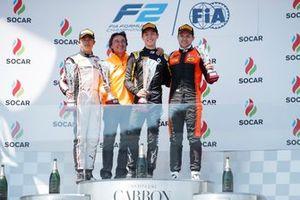 Jack Aitken, CAMPOS RACING, celebrates on the podium with Jordan King, MP MOTORSPORT, and Nyck De Vries, ART GRAND PRIX
