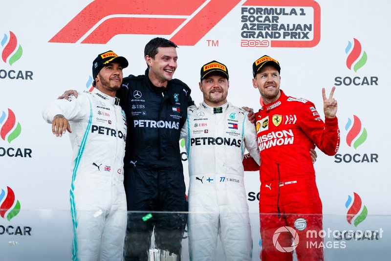 Lewis Hamilton, Mercedes AMG F1, Race Winner Valtteri Bottas, Mercedes AMG F1 and Sebastian Vettel, Ferrari celebrate on the podium