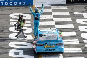 Kyle Busch, Joe Gibbs Racing, Toyota Camry M&M's Hazelnut, celebrates after winning the Pocono 400