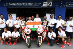 Rajiv Sethu and Senthil Kumar with Honda Racing India team