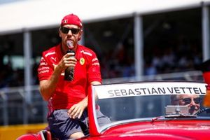Sebastian Vettel, Ferrari, in the drivers parade