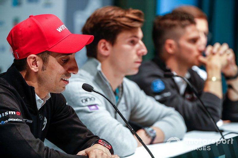 Sébastien Buemi, Nissan e.Dams, lors de la conférence de presse avec Alex Lynn, Panasonic Jaguar Racing