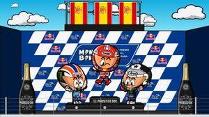 El podio del GP de España de MotoGP 2019, por MiniBikers