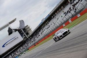 Rahel Frey, Audi R8 LMS Cup Seyffarth, takes the checkered flag