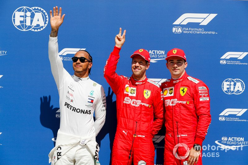 Lewis Hamilton, Mercedes AMG F1, Pole Sitter Sebastian Vettel, Ferrari and Charles Leclerc, Ferrari