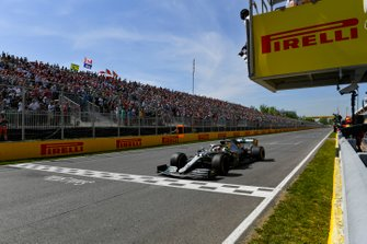 Lewis Hamilton, Mercedes AMG F1 W10 crosses the line