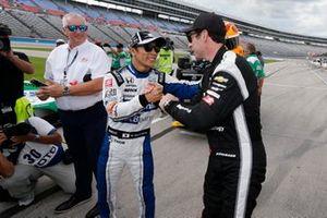 Takuma Sato, Rahal Letterman Lanigan Racing Honda is congratulated by Simon Pagenaud, Team Penske Chevrolet