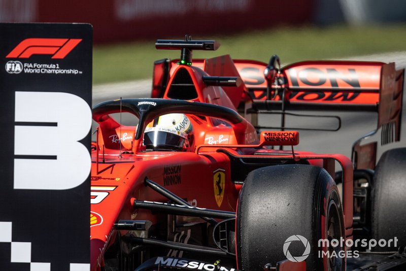 Sebastian Vettel, Ferrari SF90, parcheggia la sua monoposto dopo le Qualifiche