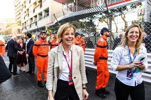 Susie Wolff, Team Principal, Venturi Formula E celebrates a podium in parc ferme
