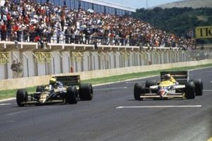 Ayrton Senna, Lotus; Nigel Mansell, Williams