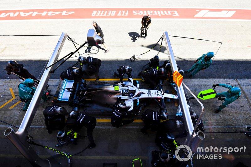 Valtteri Bottas, Mercedes AMG W10, makes a pit stop