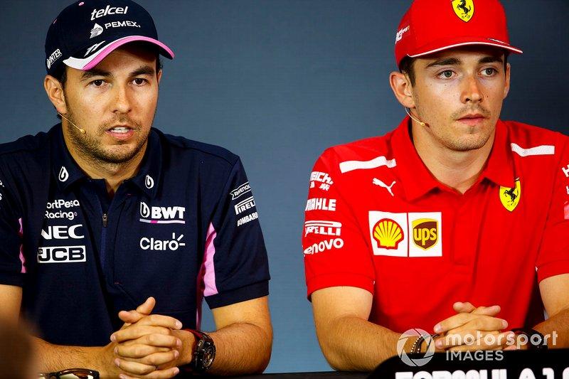 Sergio Pérez, Racing Point y Charles Leclerc, Ferrari en la conferencia de prensa
