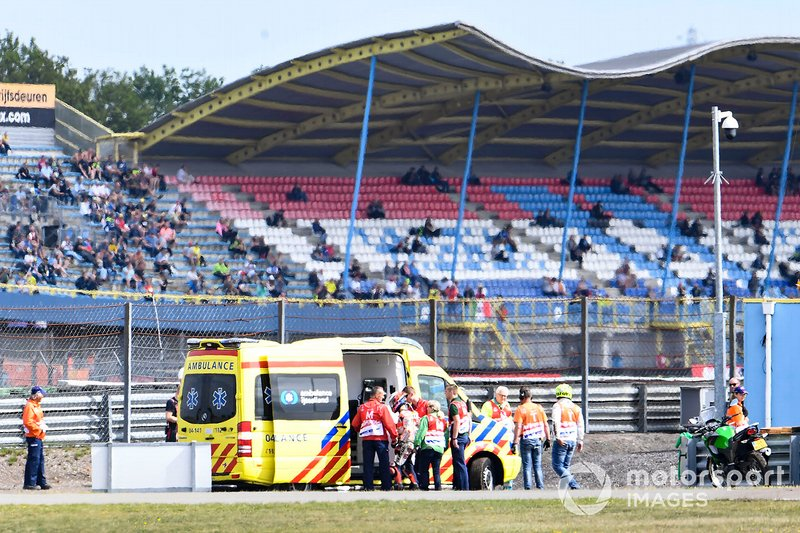 Jorge Lorenzo, Repsol Honda Team getting in the ambulance