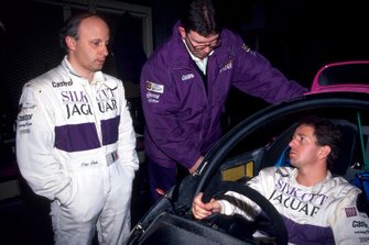 Ross Brawn, Jaguar co-designer, centre, with Jaguar team mates Teo Fabi and Martin Brundle