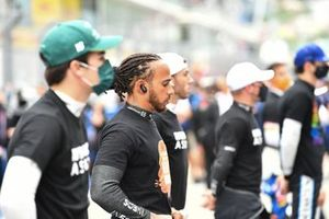 Lewis Hamilton, Mercedes, on the grid with the other drivers