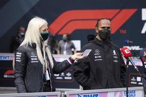 Lewis Hamilton, Mercedes, talks to the media