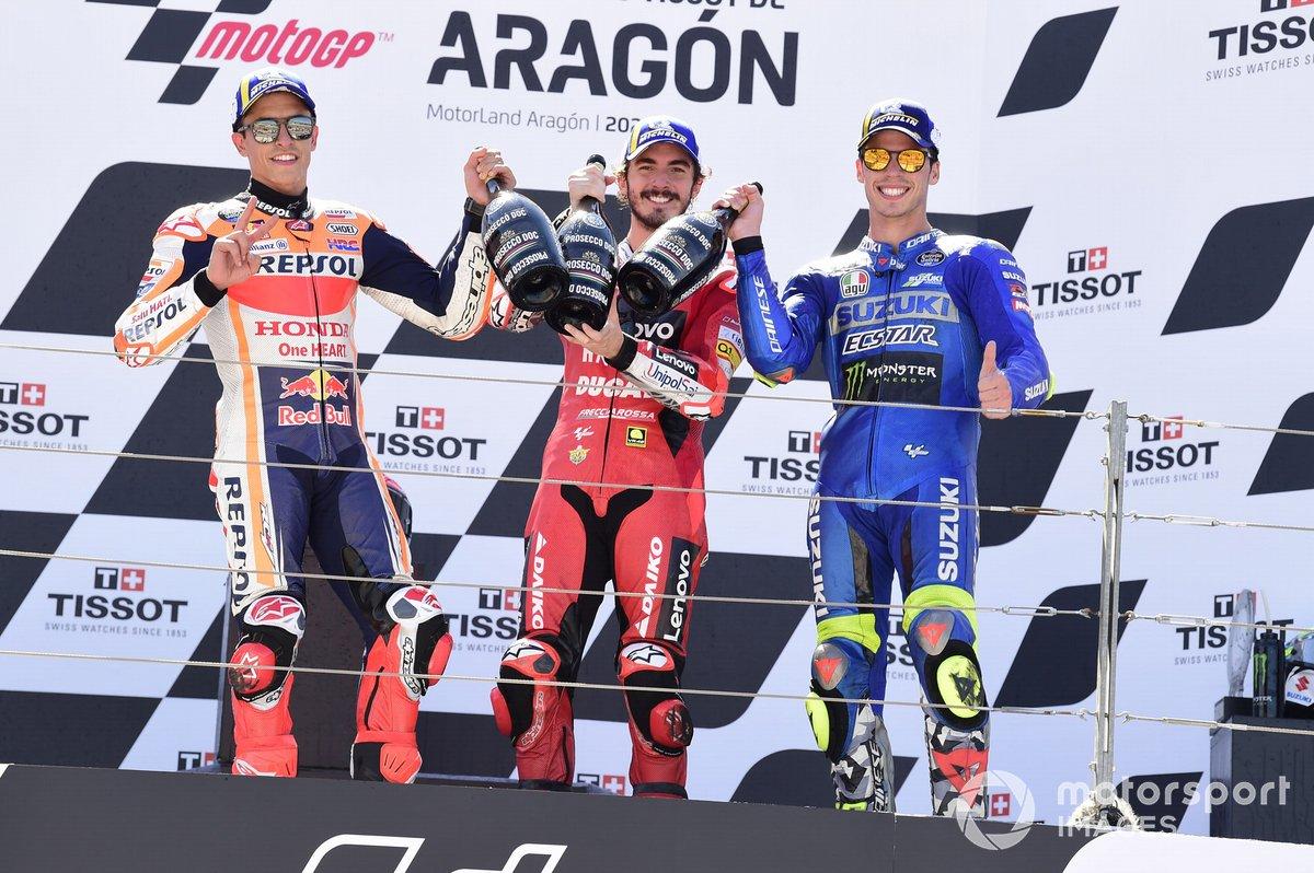 Marc Marquez, Repsol Honda Team, Francesco Bagnaia, Ducati Team, Joan Mir, Suzuki MotoGP Team