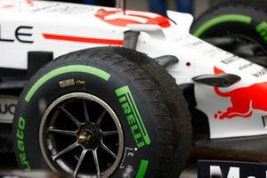 Worn tyres on the car of Sergio Perez, Red Bull Racing RB16B, 3rd position, in Parc Ferme