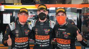 Pole men #63 Orange 1 FFF Racing Team Lamborghini Huracan GT3 Evo: Mirko Bortolotti, Marco Mapelli, Andrea Caldarelli