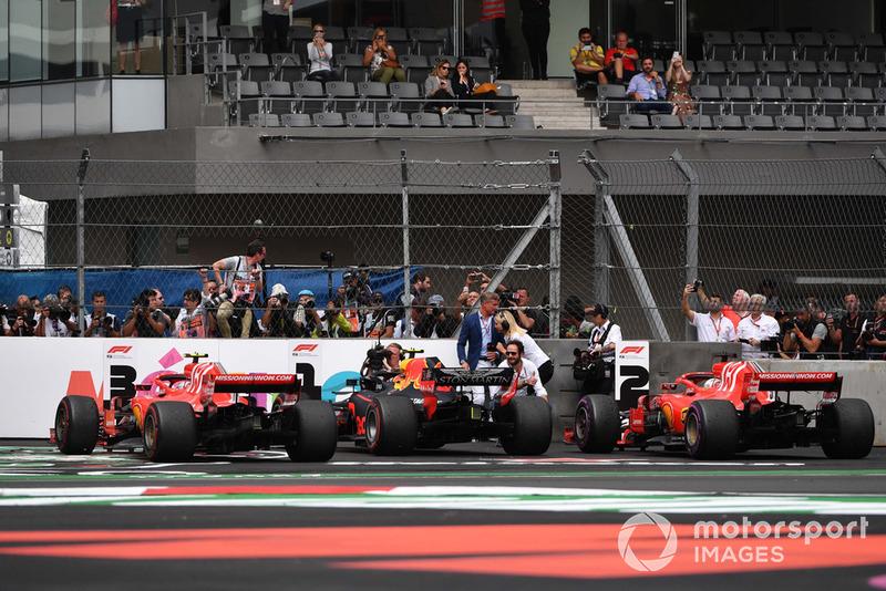 Kimi Raikkonen, Ferrari SF71H, Max Verstappen, Red Bull Racing RB14 and Sebastian Vettel, Ferrari SF71H in Parc Ferme
