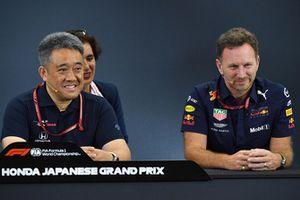 Toyoharu Tanabe, directeur technique F1 de Honda, et Christian Horner, directeur de Red Bull Racing, lors de la conférence de presse
