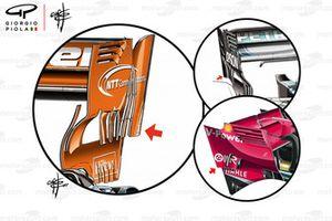 Comparazione della paratia dell'ala posteriore di McLaren, Ferrari e Mercedes