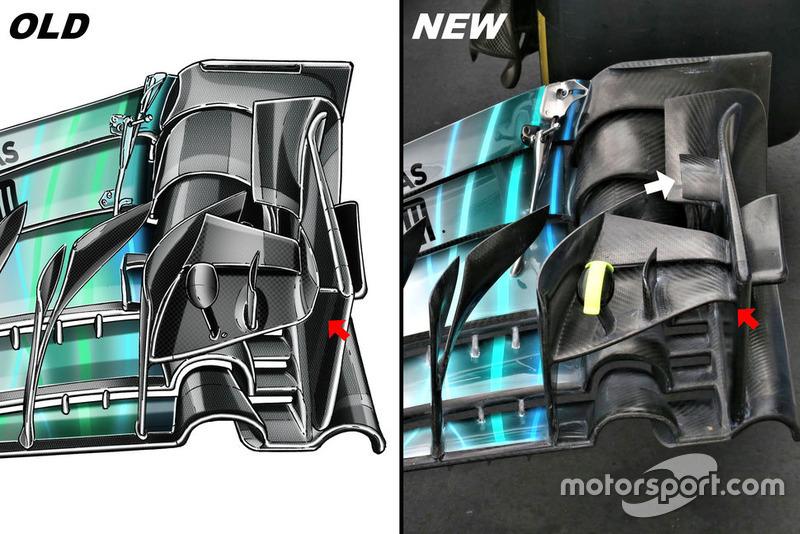 Mercedes AMG F1 W09, első szárny összehasonlítása