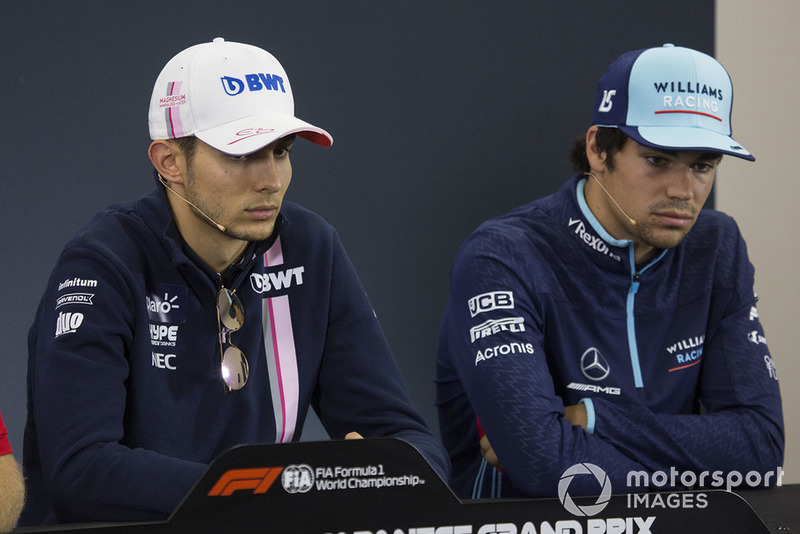 Esteban Ocon, Racing Point Force India F1 Team Y Lance Stroll, Williams Racing en la conferencia de prensa