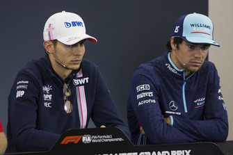 Esteban Ocon, Racing Point Force India F1 Team and Lance Stroll, Williams Racing in Press Conference