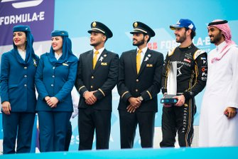 Jean-Eric Vergne, DS TECHEETAH poses with Saudia Airline representatives on the podium