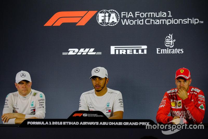 Press Conference: (Left to Right) Valteri Bottas, Mercedes AMG F1, Lewis Hamilton, Mercedes AMG F1, Sebastian Vettel, Ferrari