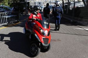 Carlos Sainz Jr., Ferrari, arrives at the track