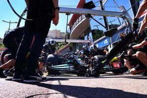 Lewis Hamilton, Mercedes W12, makes a pit stop during practice