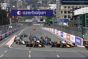 Oscar Piastri, Prema Racing, Juri Vips, Hitech Grand Prix and Liam Lawson, Hitech Grand Prix