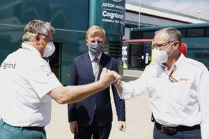 Oliver Dowden CBE, Secretary of State for Digital, Culture, Media and Sport, Otmar Szafnauer, Team Principal and CEO, Aston Martin F1, and Stefano Domenicali, CEO, Formula 1