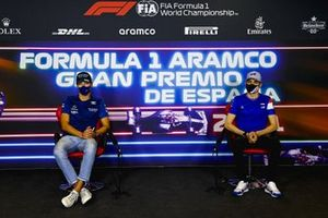 George Russell, Williams e Esteban Ocon, Alpine F1 in conferenza stampa