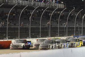 #99: Ben Rhodes, ThorSport Racing, Toyota Tundra Bombardier, #2: Sheldon Creed, GMS Racing, Chevrolet Silverado GMS Racing restart