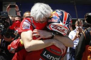 Race winner Jack Miller, Ducati Team celebrates with Gigi Dall'Igna, Ducati Team General Manager