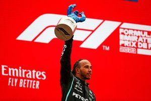 Lewis Hamilton, Mercedes, 2nd position, lifts his trophy