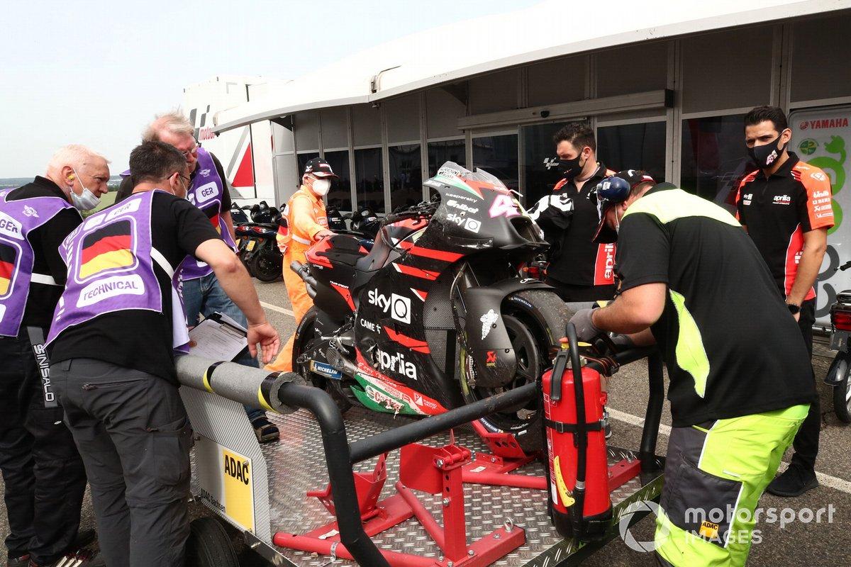Moto de Aleix Espargaró, Aprilia Racing Team Gresini tras su caída