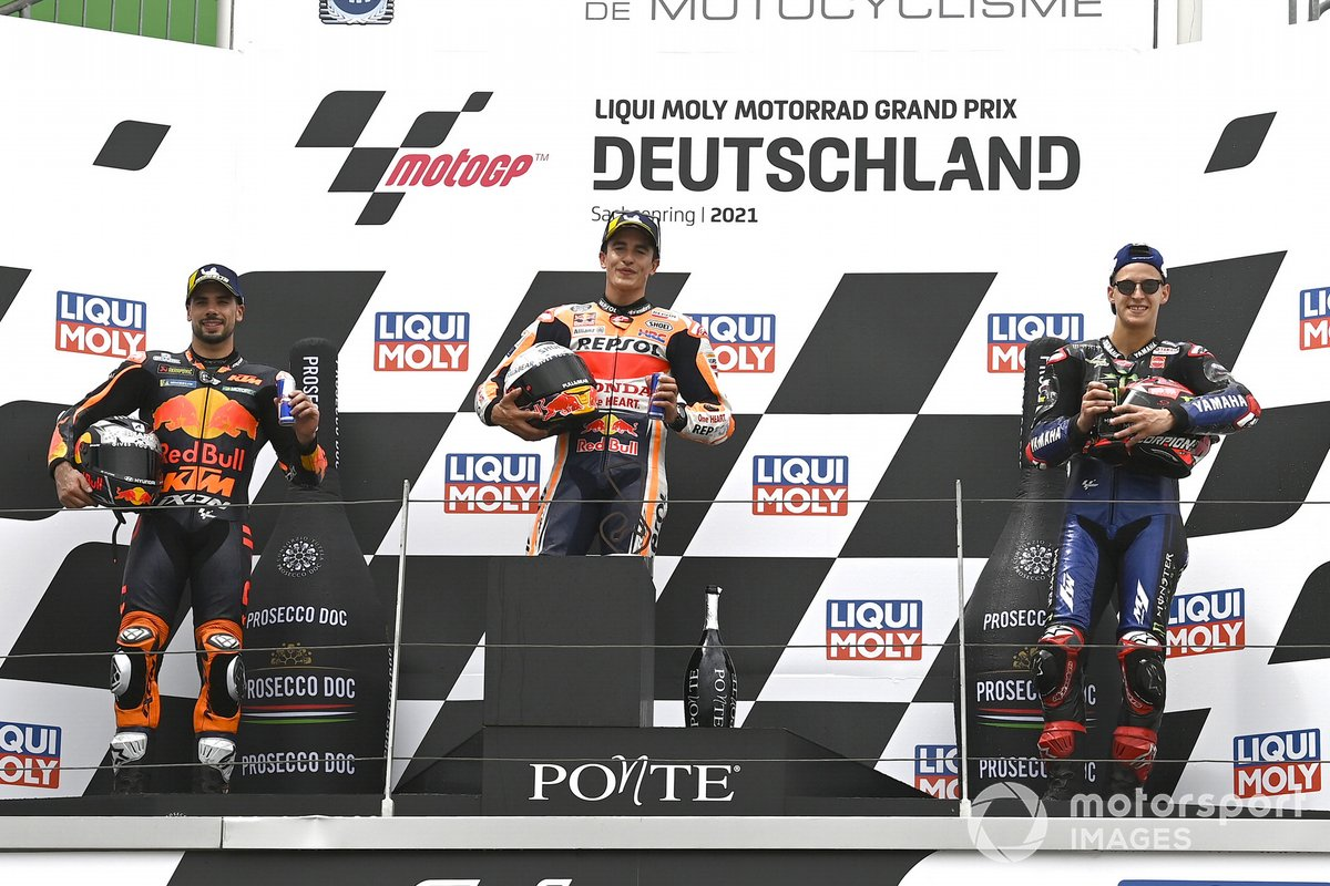 Podio: 1º Marc Márquez, Repsol Honda Team; 2º Miguel Oliveira, Red Bull KTM Factory Racing; 3º Fabio Quartararo, Yamaha Factory Racing