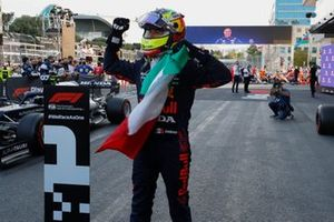Sergio Perez, Red Bull Racing, 1st position, celebrates in Parc Ferme
