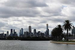 The Melbourne skyline behind the Albert Park Lake