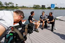 Tom Clarkson interviews Stoffel Vandoorne, McLaren, Matt Morris, Engineering Director, McLaren, besi